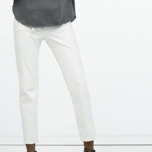Zara white denim cigarette jeans
